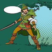 Постер, плакат: Robin Hood Standing With Bow And Arrows Robin Hood In A Hat With Feather Young Soldier Noble Robb