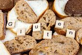 Gluten Text. Sliced Bread On The Top Of Table, Gluten Free Concept. Homemade Gluten Free Bread For P poster