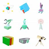 Scientific Research Project Icons Set. Cartoon Set Of 9 Scientific Research Project Vector Icons For poster