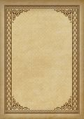 Ornate Rectangular Framework On A Piece Of Parchment. Template For Certificate, Diploma, Announcemen poster