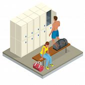 Isometric Interior Of A Locker And Changing Room. Vector Changing Locker Room With Shower Enclosures poster