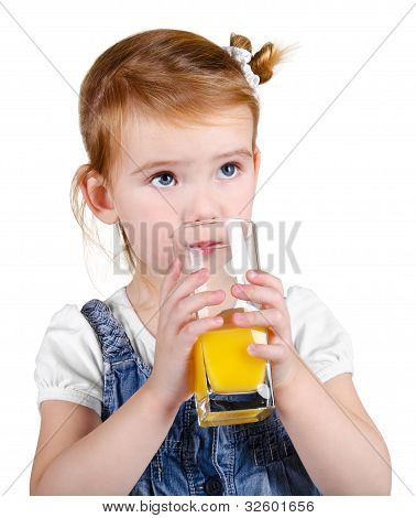 Portrait Of Beautiful Little Girl Drinking A Juice