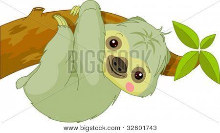 Fun zoo. Illustration of cute Sloth