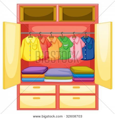 Wardrobe with clothes on white