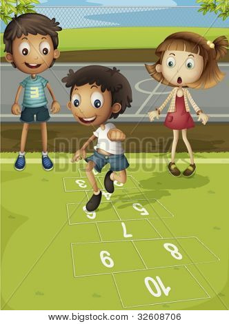 Kids playing hopscotch in park