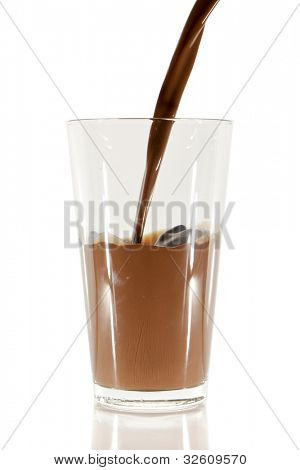 pouring chocolate milk into the glass isolated on white