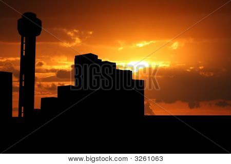 Reunion Tower Dallas At Sunset