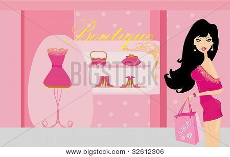 Fashion girl shopping in clothing store , vector illustration