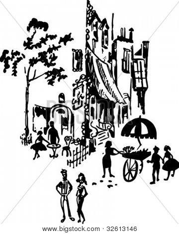 Escena de la calle de francés - ilustración imágenes prediseñadas Retro