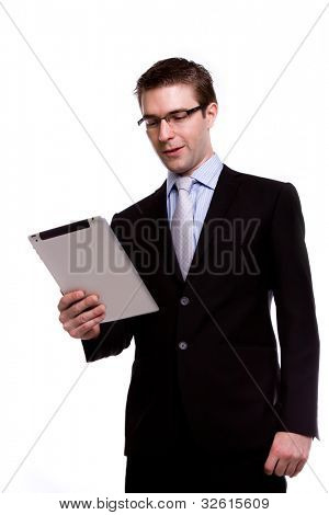 Business man with touch screen device