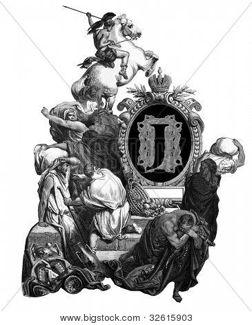 Luxurious Victorian initials letter J, after an engraving by Gustav Dore,
