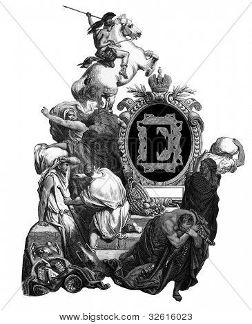 "Luxurious Victorian initials letter E, after an engraving by Gustav Dore, ""Jesus, banishing merchants from the temple"", edition of the ""Holy Bible"",Russian Empire, circa 1866."