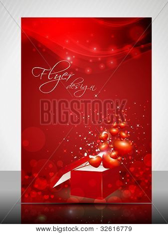 Beautiful Valentines Day flyer, banner or cover design with  open gift box and shiny heart shapes on abstract background in red color. EPS 10, vector illustration.
