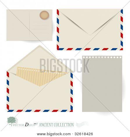 Vector set: Envelope and postcard designs.