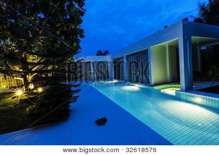 Night View Of Modern Pool Villa