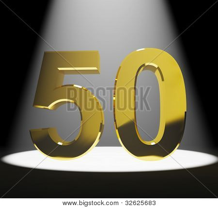 Gold 50th Or Fifty 3d Number Closeup Representing Anniversary Or Birthdays