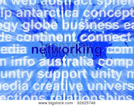 Networking Word Over World Background Showing Relationships And Communications
