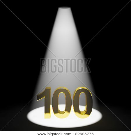 Gold 100th Or One Hundred 3d Number Representing Anniversary Or Birthdays