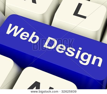 Web Design Computer Key Showing Internet Or Online Graphic Designing