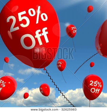 Balloon With 25% Off Showing Sale Discount Of Twenty Five Percent