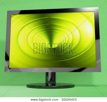TV Monitor With Vortex Picture Representing High Definition Television Or HDTV