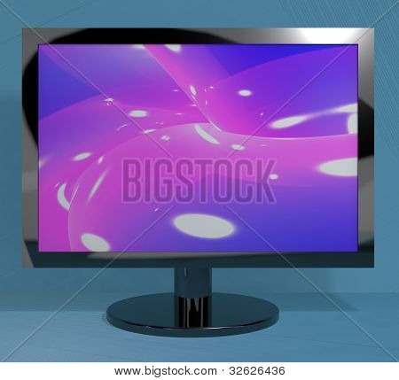 TV Monitor On Stand Representing High Definition Television Or HDTV