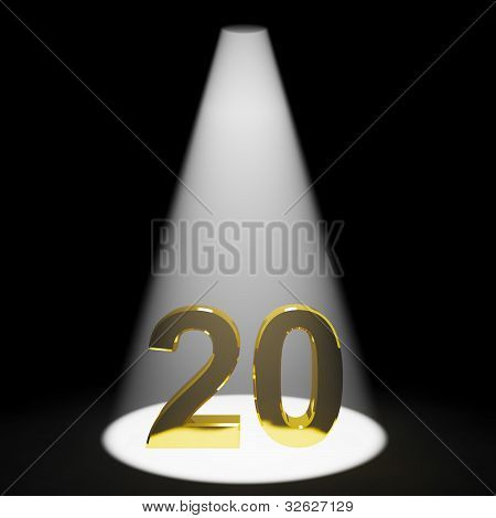 Gold 20th Or Twenty 3d Number Showing Anniversary Or Birthday