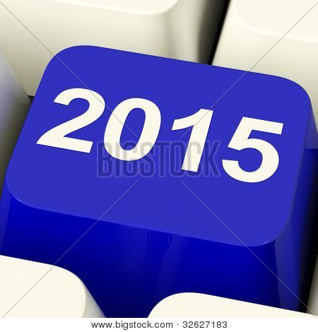 2015 Key On Keyboard Representing Year Two Thousand And Fifteen