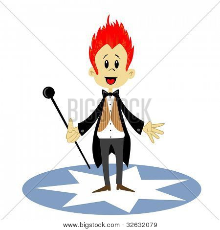 cartoon illustration of a circus announcer