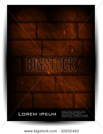 Vector brick wall architecture background