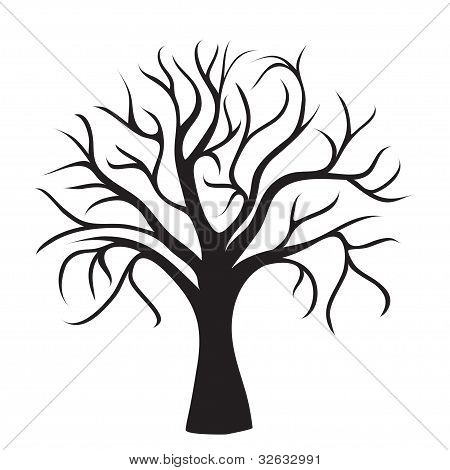 Picture or photo of black tree without leaves on white for Coloring pages of trees without leaves