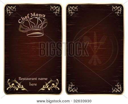 Restaurant Chef Menu Cover Or Board Vector - Gold