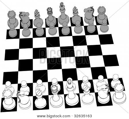 Complete black and white 3D Chess set game pieces and checker board as line drawing