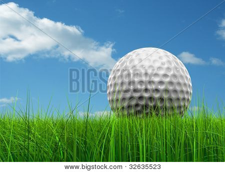 Green, fresh and natural 3d conceptual grass over a blue sky background with a golf ball at horizon ideal for club,sport,business,recreation,competition or fun design