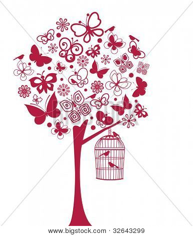 Butterfly and bird tree  (all separate elements)