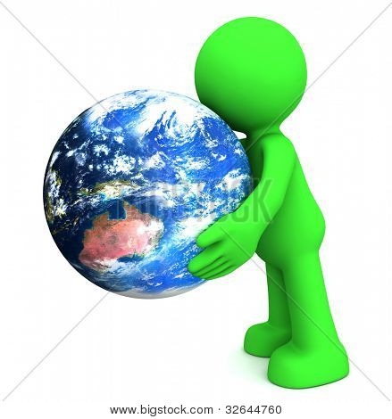 3D human character hollding planet earth isolated on white. Elements of this image furnished by NASA.