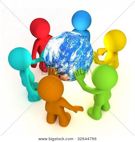 Six 3D human character hollding planet earth isolated on white. Elements of this image furnished by NASA.