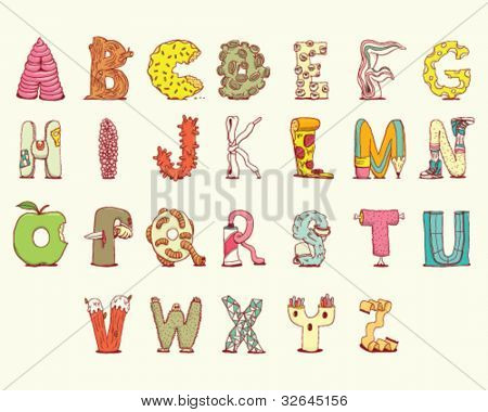 Joyful Cartoon font - letter from A to Z, vector clip art