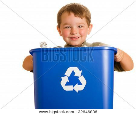 Recycling concept with young child carrying recycling bin isolated on white