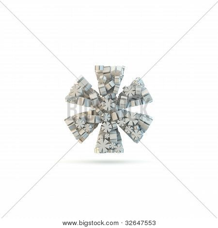 White Asterisk Mark Isolated On White.