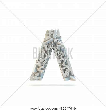 White Circumflex Mark Isolated On White.