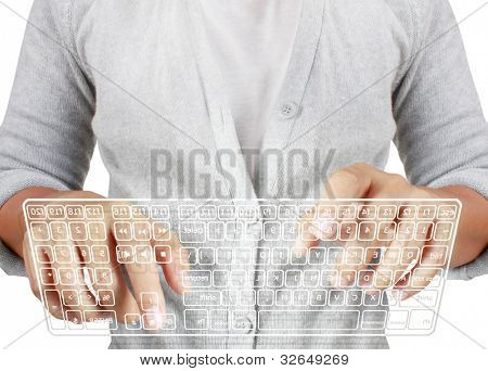 typing in on a virtual keyboard on a white background