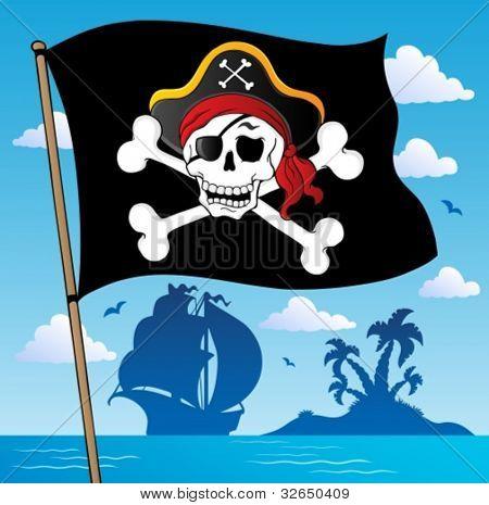 Pirate banner theme 2 - vector illustration.