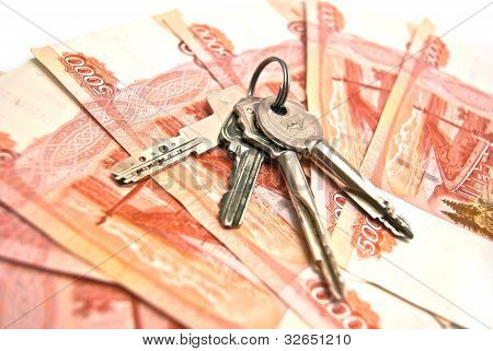 Keys And Banknotes Background