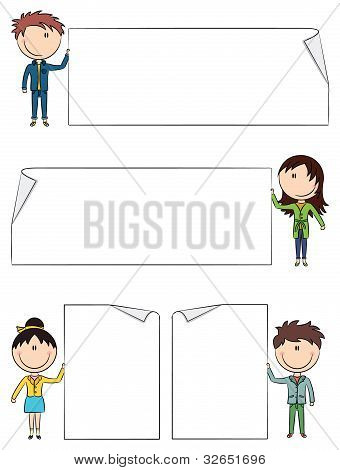 Cheerful Kids Holding Empty Blank Banners