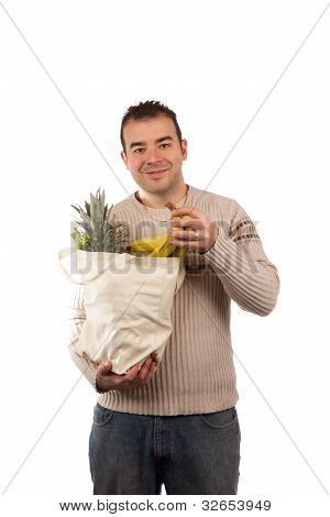 Man Holding Grocery Items