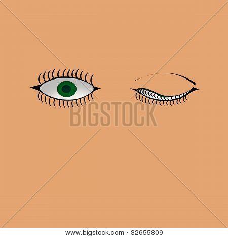Green eyes winking