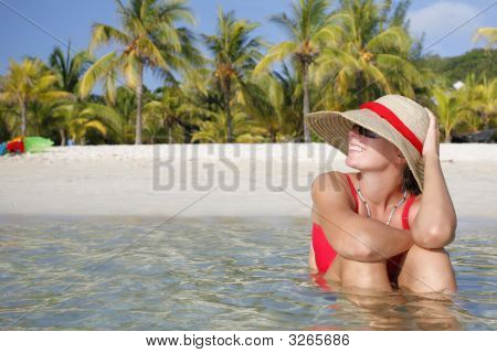 Smiling Woman On Tropical Beach