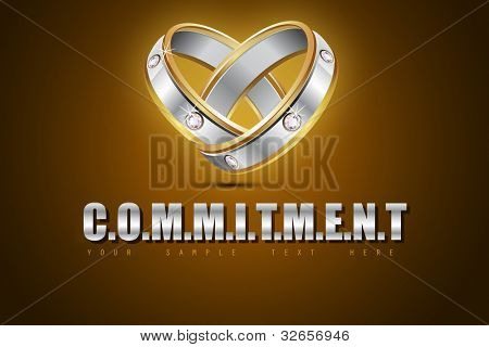 illustration of pair of engagement rings showing commitment