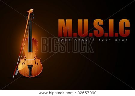 illustration of wooden violin with stick on Music background